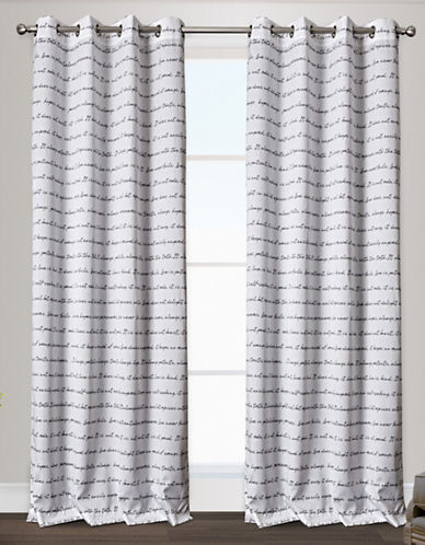 Home Outfitters Typography Two-Pack Window Curtains-BLACK/WHITE-84 inches