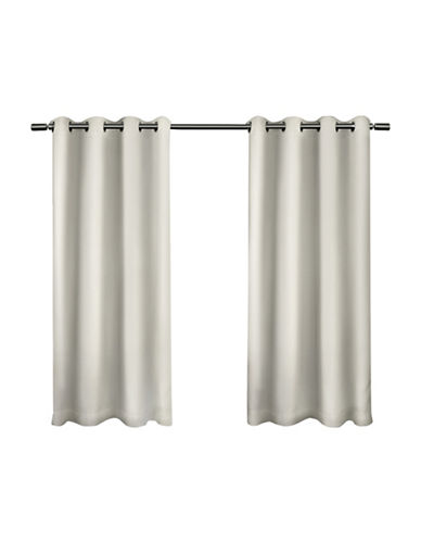 Home Outfitters Set of Two Twill Weave Curtain Panels-VANILLA-63 inches