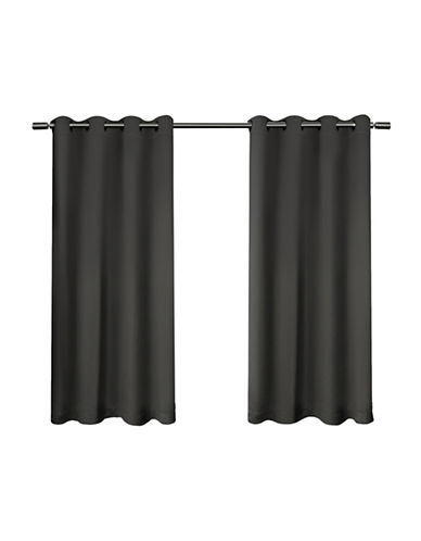 Home Outfitters Set of Two Twill Weave Curtain Panels-CHARCOAL-63 inches