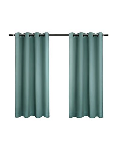 Home Outfitters Set of Two Twill Weave Curtain Panels-TEAL-84 inches