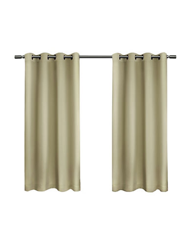 Home Outfitters Set of Two Twill Weave Curtain Panels-LINEN-84 inches