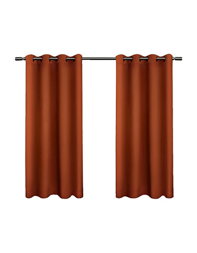 Home Outfitters Set of Two Twill Weave Curtain Panels-MECCA ORANGE-96 inches