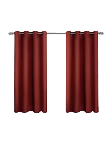 Home Outfitters Set of Two Twill Weave Curtain Panels-CHILI-63 inches