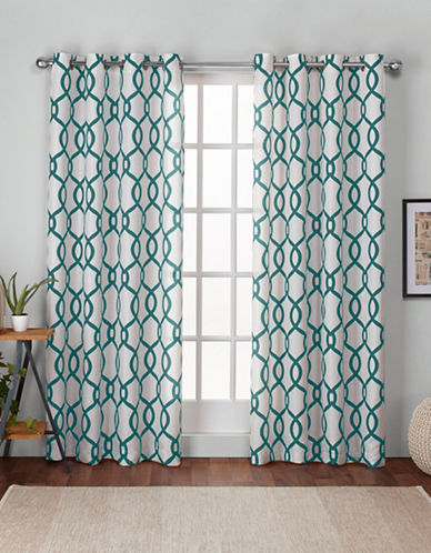 Home Outfitters Kochi 108-Inch Curtain Panel-TEAL-96 inches