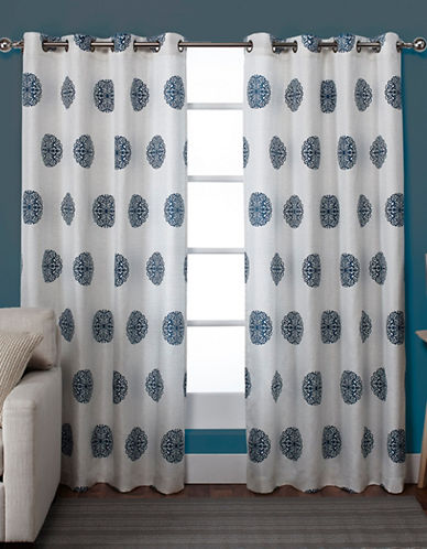 Home Outfitters Set of Two Sedgewick Curtain Panels-TEAL-96 inches