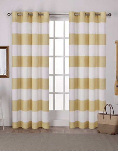 Home Outfitters Set of Two Stripe Curtain Panels-YELLOW-96 inches