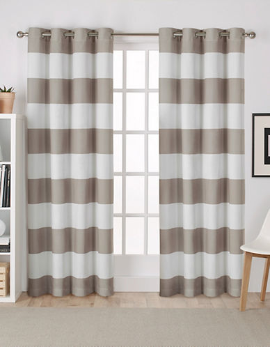 Home Outfitters Set of Two Stripe Curtain Panels-TAUPE-96 inches