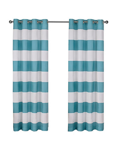 Home Outfitters Set of Two Stripe Curtain Panels-TEAL-96 inches