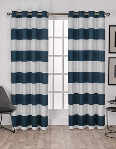 Home Outfitters Set of Two Stripe Curtain Panels-INDIGO-108 inches