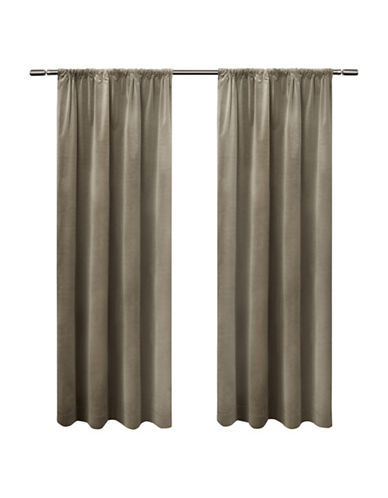 Home Outfitters Cotton Velvet Window Curtain Panel-TAUPE-84 inches