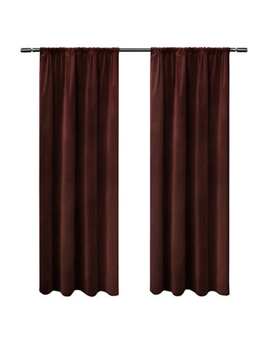 Home Outfitters Cotton Velvet Window Curtain Panel-BURGUNDY-84 inches