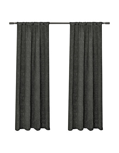 Home Outfitters Embossed Satin Small Window Curtain-BLACK PEARL-84 inches