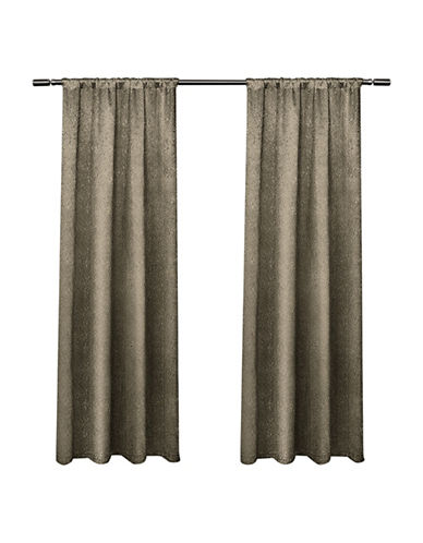 Home Outfitters Embossed Satin Small Window Curtain-TAUPE-84 inches