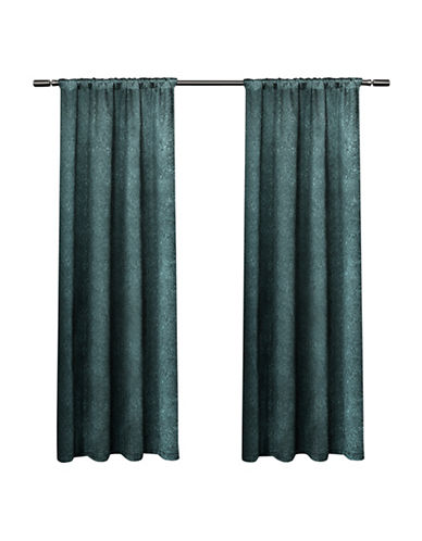 Home Outfitters Embossed Satin Small Window Curtain-TEAL-96 inches