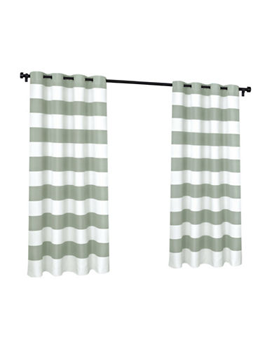 Home Outfitters Indoor and Outdoor Cabana Stripe Small Window Curtain-SEA FOAM-84 inches