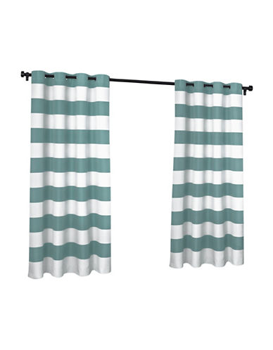 Home Outfitters Indoor and Outdoor Cabana Stripe Small Window Curtain-TEAL-84 inches