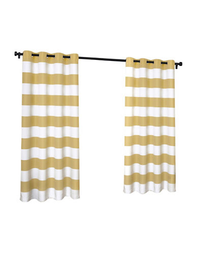 Home Outfitters Indoor and Outdoor Cabana Stripe Small Window Curtain-YELLOW-84 inches