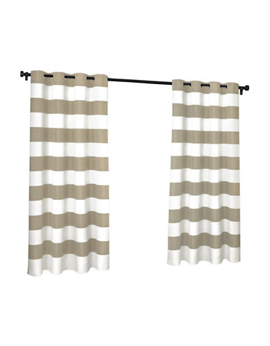 Home Outfitters Indoor and Outdoor Cabana Stripe Small Window Curtain-TAUPE-96 inches