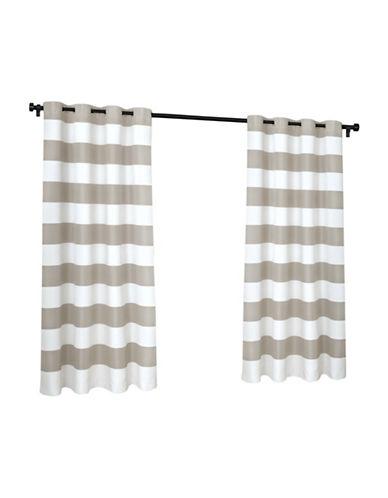 Home Outfitters Indoor and Outdoor Cabana Stripe Small Window Curtain-CLOUD GREY-96 inches