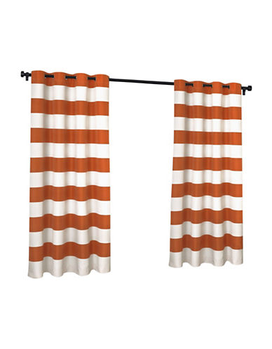 Home Outfitters Indoor and Outdoor Cabana Stripe Small Window Curtain-MECCA ORANGE-96 inches