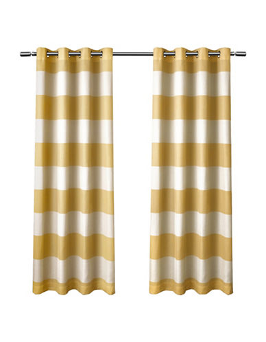 Home Outfitters Set of Two Santa Monica Curtain Panels-YELLOW-84 inches