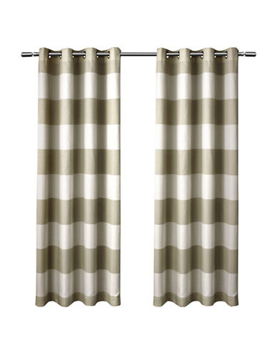 Home Outfitters Set of Two Santa Monica Curtain Panels-TAUPE-84 inches