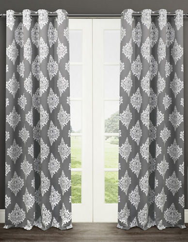 Home Outfitters Set of Two 63In Medallion Thermal Blackout Grommet Top Curtain Panels-BLACK PEARL-63 inches