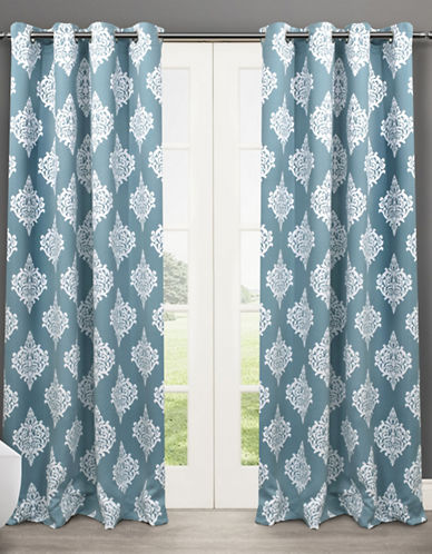 Home Outfitters Set of Two 63In Medallion Thermal Blackout Grommet Top Curtain Panels-TEAL-108 inches