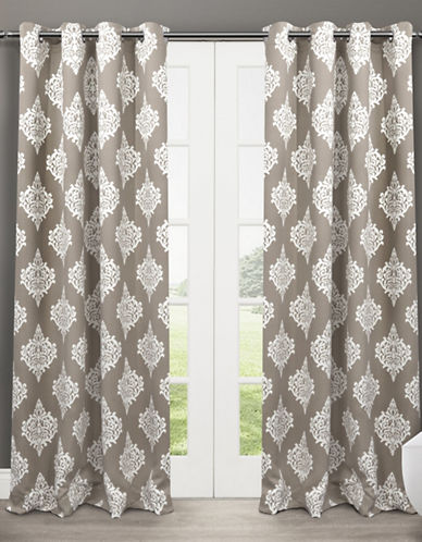Home Outfitters Set of Two 63In Medallion Thermal Blackout Grommet Top Curtain Panels-TAUPE-96 inches