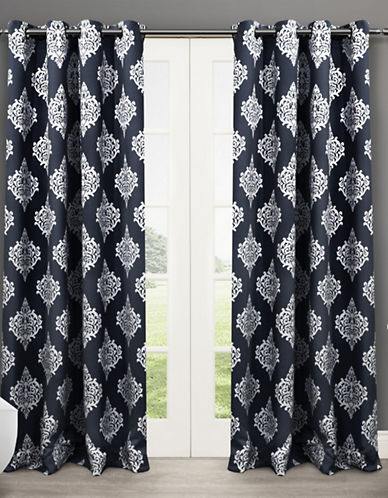 Home Outfitters Set of Two 63In Medallion Thermal Blackout Grommet Top Curtain Panels-PEACOAT BLUE-63 inches