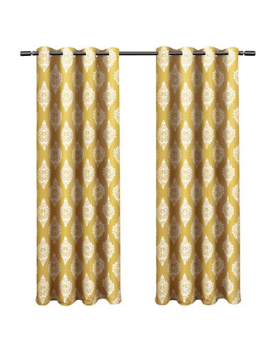 Home Outfitters Set of Two 63In Medallion Thermal Blackout Grommet Top Curtain Panels-SUNDRESS-96 inches