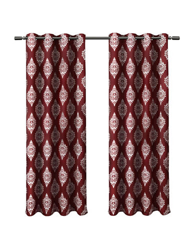 Home Outfitters Set of Two 63In Medallion Thermal Blackout Grommet Top Curtain Panels-BURGUNDY-84 inches