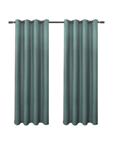 Home Outfitters Chevron Small Window Curtain-TEAL-96 inches