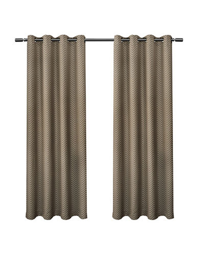 Home Outfitters Chevron Small Window Curtain-TAUPE-96 inches