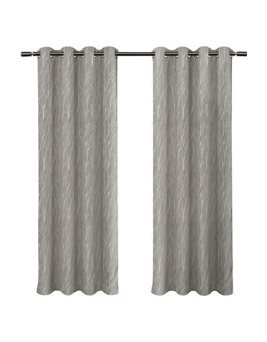 Home Outfitters Forest Hill Blackout Panel Pair-ASH GREY-84 inches