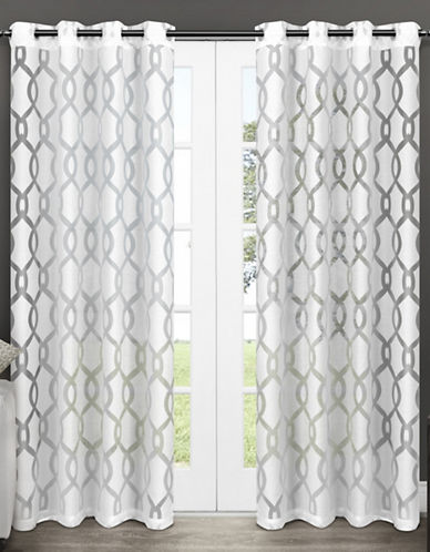 Home Outfitters Set of Two Exclusive Home Rio Sheer Grommet Top Curtain Panels-WHITE-108 inches
