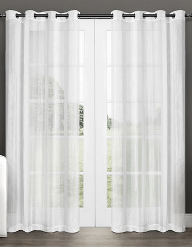 Home Outfitters Set of Two Penny Sheer Curtain Panels-WHITE-84 inches
