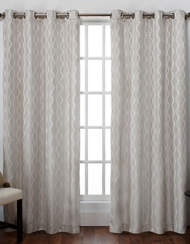Home Outfitters Baroque Textured Grommet Window Curtain Panel Pair-DOVE GREY-108 inches