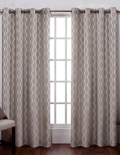 Home Outfitters Baroque Textured Grommet Window Curtain Panel Pair-NATURAL-108 inches