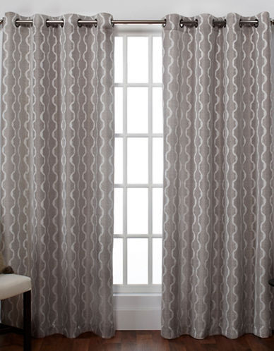 Home Outfitters Baroque Textured Grommet Window Curtain Panel Pair-PEWTER-108 inches