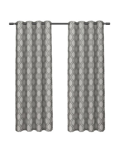 Home Outfitters Domino Large Window Curtain-BLACK PEARL-84 inches