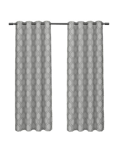 Home Outfitters Domino Large Window Curtain-STEEL BLUE-96 inches