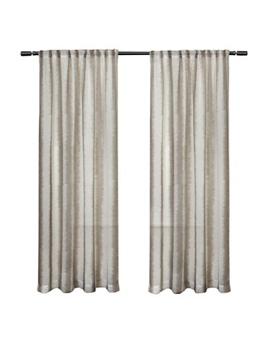 Home Outfitters Set of Two Ikat Print Curtain Panels-TAUPE-96 inches