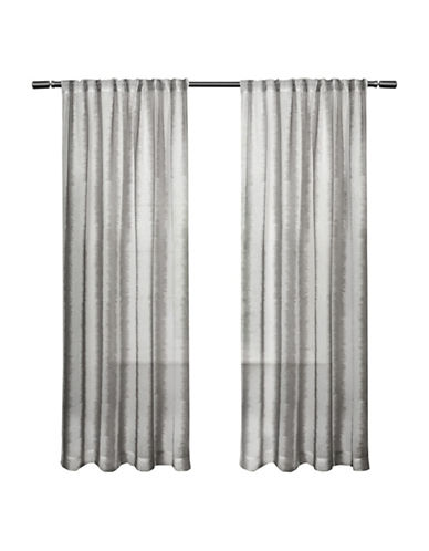 Home Outfitters Set of Two Ikat Print Curtain Panels-BLACK PEARL-96 inches