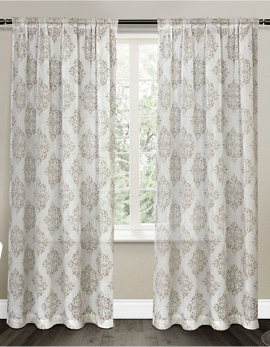 Home Outfitters Nagano Sheer Curtain Panel Pair-TAUPE-84 inches