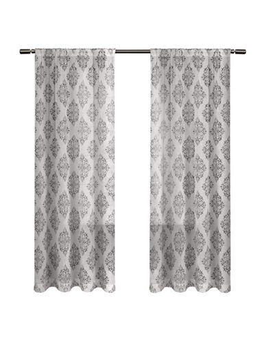 Home Outfitters Nagano Sheer Curtain Panel Pair-BLACK PEARL-96 inches