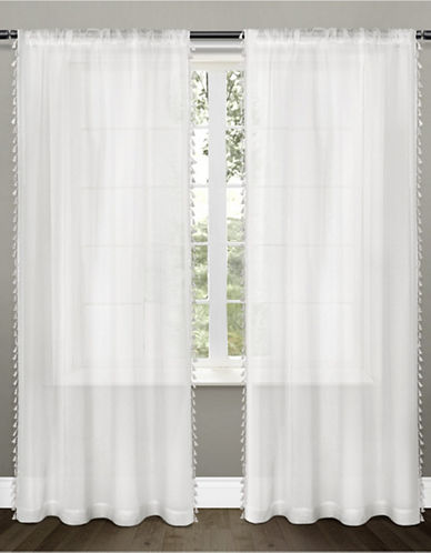 Home Outfitters Set of Two Tassels Applique Curtain Panels-WHITE-84 inches