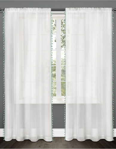 Home Outfitters Set of Two Tassels Applique Curtain Panels-SEA FOAM-84 inches
