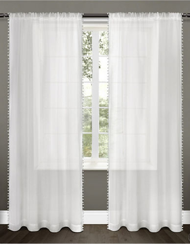 Home Outfitters Set of Two Pom-Pom Curtain Panels-WHITE-96 inches