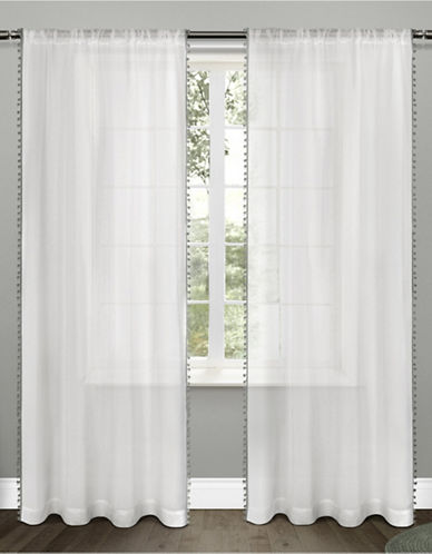 Home Outfitters Set of Two Pom-Pom Curtain Panels-BLACK PEARL-84 inches